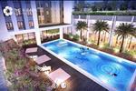 Kết nối giữa các tòa tháp của Chung cư The K Park là khu bể bơi ngoài trời rộng đến hơn 200 m2 mang lại một không gian xanh và tươi mát.