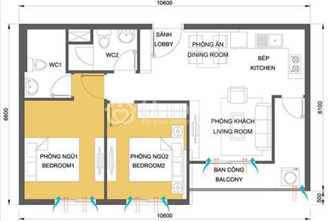 Cần bán căn Masteri 2 phòng ngủ tầng cao, hướng mát, giá 2,45 tỷ