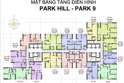 Cắt lỗ 300 triệu chung cư Park Hill, tòa Park 9. Tầng 16 - căn 09, giá 3 tỷ, 70,3 m2