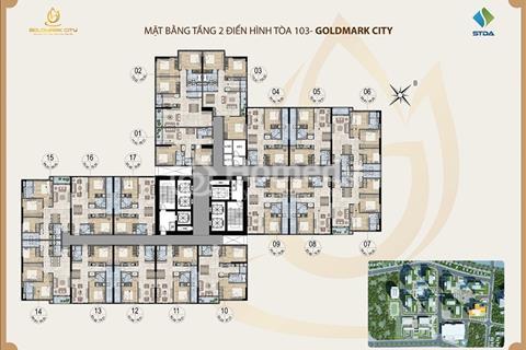 Bán chung cư Goldmark City, 160,62 m2, tầng 1814, giá 23 triệu/m2