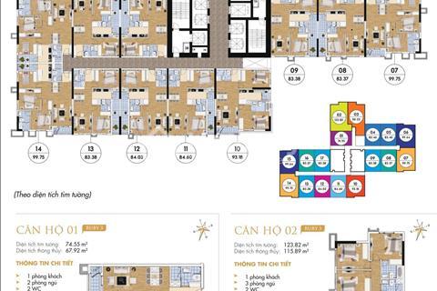 Bán căn hộ chung cư Goldmark City, 83,46 m2, tầng 1816, Ruby 3, giá 1,8 tỷ