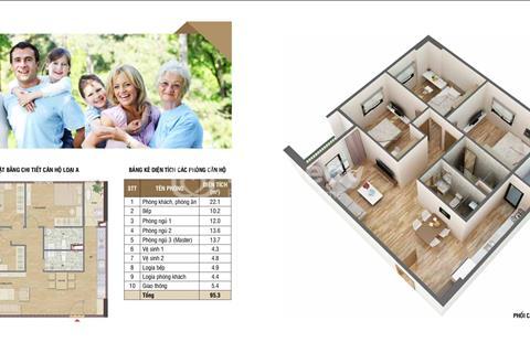 Bán chung cư HUD3 - 60 Nguyễn Đức Cảnh, căn góc 90 m2 thiết kế 3 phòng ngủ, giá rẻ.