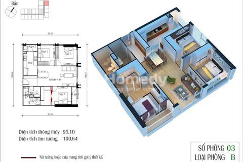 Bán chung cư Eco Green City, 95,1 m2, tầng 1603, CT4, giá 23 triệu/m2