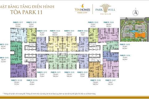 Bán chung cư Times City Park Hill, 70,3 m2, tầng 1505, Park 11, giá lỗ 2,5 tỷ