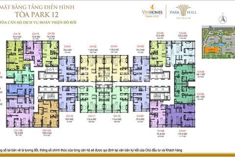 Bán chung cư Times City Park Hill, Park 12, 78,9 m2, tầng 1212, giá 2,7 tỷ