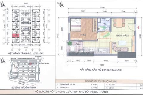 Bán căn hộ 47,31 m2, phòng 1634 CT10A, chung cư Đại Thanh 700 triệu