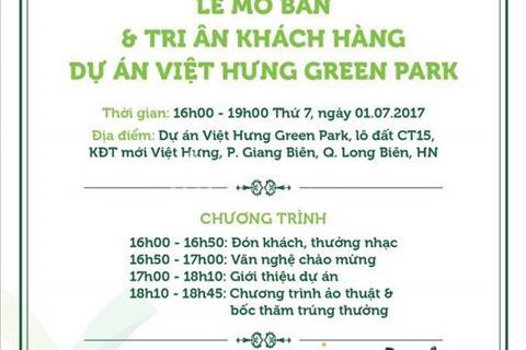 Tưng bừng nhận quà tặng lên đến 86 triệu nhân sự kiện mở bán 1/7 dự án Green Park CT15 Việt Hưng