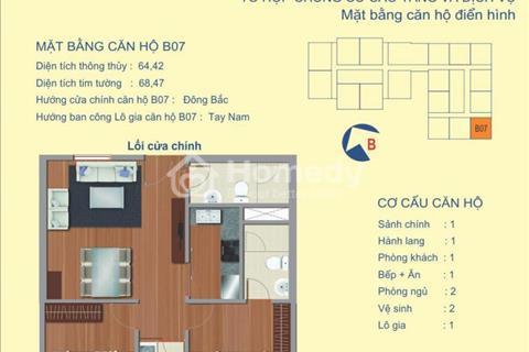 Bán căn góc B7 diện tích 64,24 m2 (2 phòng ngủ) chung cư 122 Vĩnh Tuy full nội thất