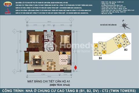 Chính chủ bán lại căn góc 2 phòng ngủ diện tích 67 m2 ban công hướng Nam- Tòa B1B2 Tây Nam Linh Đàm