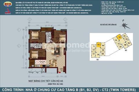Chính chủ bán căn 1802 thiết kế 3 phòng ngủ diện tích 85,12 m2 tòa B1B2 Tây Nam Linh Đàm