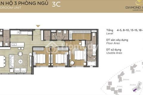Căn hộ Bora Bora Đảo Kim Cương tầng thấp 142 m2, 3 phòng ngủ ban công rộng view Quận 2