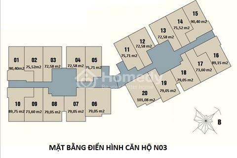 Bán căn hộ 1509 tòa N03 dự án New Horrizon, 87 Lĩnh Nam. Diện tích 73,6 m2, giá 24 triệu/m2