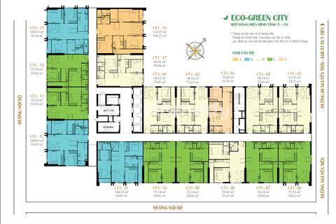 Bán cắt lỗ CT3 Eco Green City tầng 1203 (55 m2) và tầng 1806 (66 m2). Giá 23,5 triệu/m2