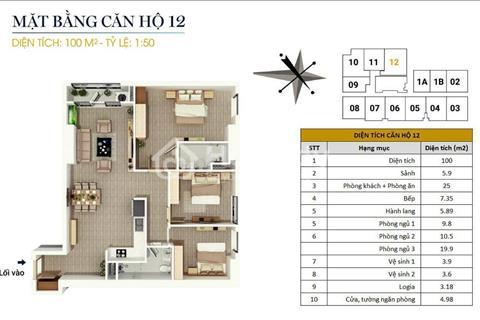 Bán gấp căn hộ ở ngay cuối năm 2017, 100 m2 thông thủy, 3 phòng, tầng đẹp nhất, giá tốt nhất
