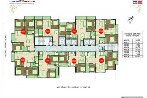 Bán chung cư 89 Phùng Hưng, căn số 1002 (81,5 m2) và căn 1906 (100,82 m2), giá 15 triệu/ m2