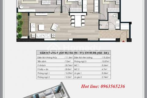 Bán căn góc 04 tòa A1 chung cư Ecolife Capitol diện tích 111,8 m2, 3 ngủ, 2 WC, giá 28,5 triệu/ m2