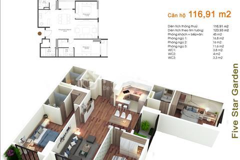 Cần bán căn số 1810 Five Star, diện tích 116,91 m2, tòa G5, 3 phòng ngủ, giá 25,2 triệu/ m2