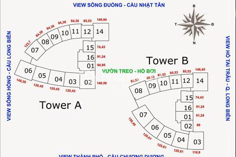 Bán cắt lỗ chung cư Mipec Long Biên tầng 11-15 (74,43 m2) Tòa B. Giá 2,5 tỷ