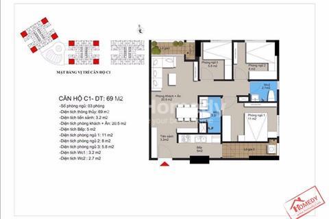 Bán căn hộ giá cực tốt view biệt thự cực đẹp chỉ 1 tỷ tại dự án Hateco Xuân Phương