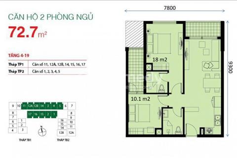 The Botanica cần bán 2 phòng ngủ, 72,7 m2, giá 2,7 tỷ view công viên Gia Định