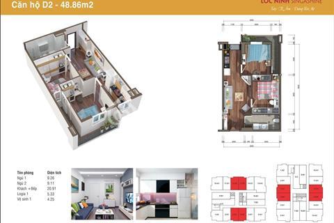 Căn hộ 2 phòng ngủ giá chỉ từ 620 triệu, chung cư Lộc Ninh, cách bến xe Yên Nghĩa 3,5 km