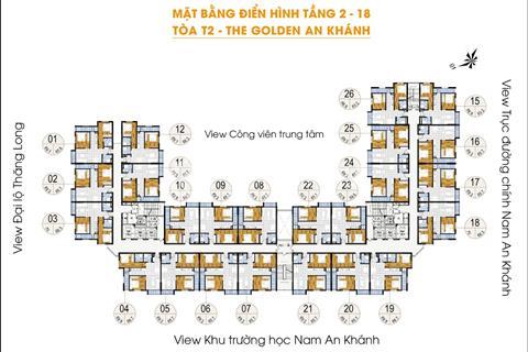 Bán gấp chung cư The Golden An Khánh, tầng 1612 - T1 (66,8 m2) và 1206 - T2 (69 m2) giá 900 triệu