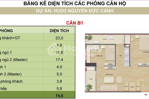 bán căn 1111 - H2 chung cư HUD3 Nguyễn Đức Cảnh, căn hộ 70 m2 hướng đông