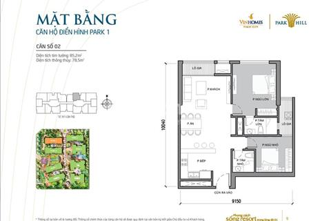 Chính chủ bán căn hộ số 2 tòa Park 1, 2 ngủ, dự án Times City - Park Hill, diện tích 85,2 m2