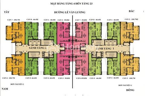Bán căn hộ 66m2 đơn nguyên 1 dự án Handiresco Lê Văn Lương giá 32.5tr/m2