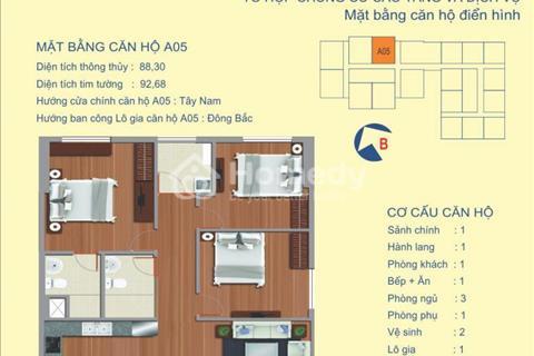 Bán căn hộ 3 phòng ngủ chung cư Udic 122 Vĩnh Tuy. Diện tích: 88,3 m2