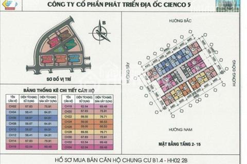 Cần cho thuê gấp căn hộ 76 m2 tại Thanh Hà - Mường Thanh