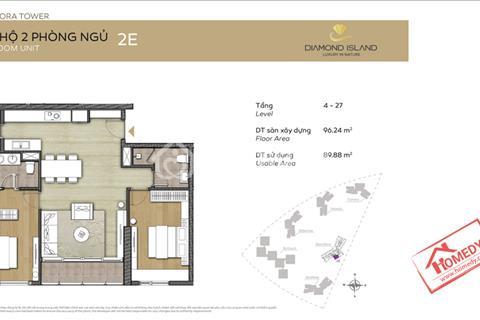 Bán lỗ căn 2 phòng ngủ đảo Kim Cương đẹp nhất tòa Bora, căn góc, view trực diện sông, 4,5 tỷ đã VAT