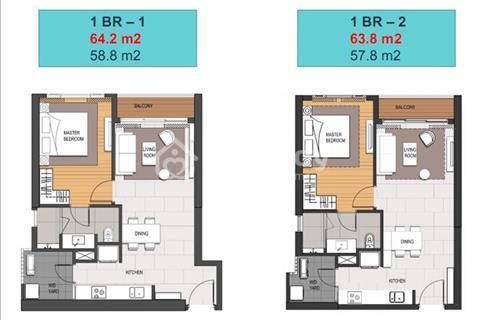 Bán gấp căn hộ 1 phòng ngủ, 64 m2, tòa MU4 Empire City Quận 2, tầng cao view đẹp, chênh 100 triệu