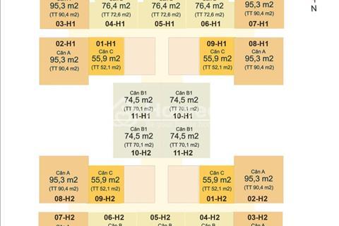 Chính chủ căn 09 tầng 12 (52,1 m2) tòa H1 chung cư HUD3 Nguyễn Đức Cảnh, giá 1,2 tỷ
