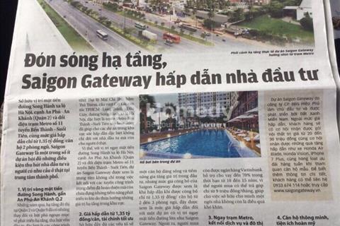 Căn hộ Saigon Gateway trên trục đường Xa Lộ Hà Nội, TT 380 triệu (25%), tặng kèm nội thất