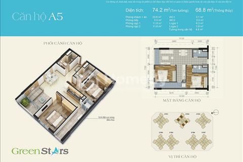 Gia đình cần bán căn hộ chung cư Green Stars -74m2 có nội thất - ban công đẹp