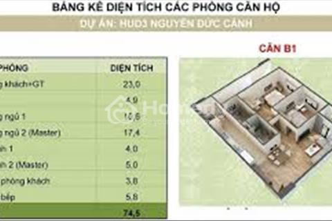 Hud 3 Nguyễn Đức Cảnh - Bán căn 2 ngủ 70m2, ls Vay 0%, miễn phí 3 năm Phí dịch vụ