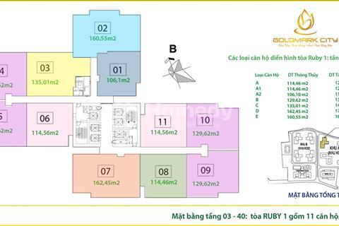 Cần bán căn hộ 22 - 07 (99 m2) và căn hộ 20-10 (93 m2) R3, Goldmark City giá 24 triệu/m2