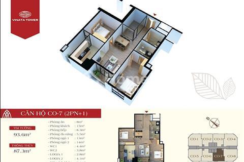 Chung cư Vinata Tower có căn 2 phòng ngủ có thể thành 3 phòng ngủ.