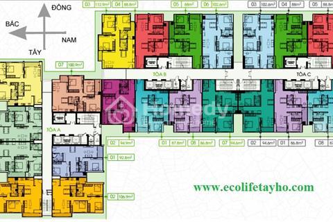 Cắt lỗ 2 căn 2001(86,8m2) tòa B và 2003(102,6m2) tòa C cc Ecolife Tây Hồ,giá 23tr