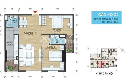Bán căn góc 75m2 2 phòng ngủ chung cư 282 Nguyễn Huy Tưởng - Hỗ trợ lãi suất 0% trong 12 tháng