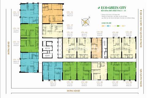 Bán rẻ căn 1602, Chung Cư Eco Green City, 75,23m2, giá 2 tỷ