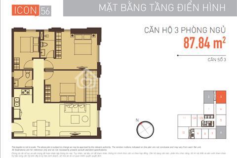 bán căn hộ Icon56, 3pn, nhà trống, có máy lạnh, có sổ hồng, tầng cao view thoáng