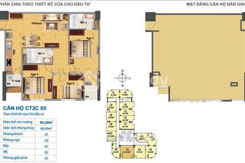 Nhượng lại căn hộ (vẫn còn thô) - Căn 86,2m2 - Khu đô thị mới Nghĩa Đô