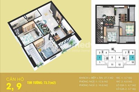 Bán căn hộ Tabudec Plaza chỉ 1,1 tỷ/căn cao cấp giá từ 15 triệu/m2, CK 4,5% tặng nội thất 100 triệu