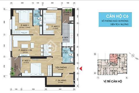 282 Nguyễn Huy Tưởng bán CH06 104,61m2, 3 phòng ngủ, 2 vệ sinh, cửa hướng Đông Nam, 22,5 triệu/m2