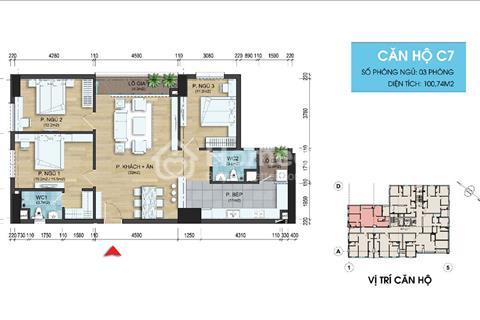 Bán nhanh căn hộ C7 111,31m2 tại dự án 282 Nguyễn Huy Tưởng, giá 22 triệu/m2, nhận nhà vào ở luôn