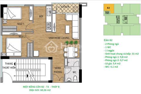 Bán gấp căn hộ tòa A mã căn A0902 diên tích 62 m2 giá chỉ 20 triệu/ m2