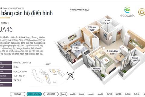Ecopark - bán căn hộ cao cấp Grand Park 46 m2 view hồ siêu hot - ngang giá chủ đầu tư