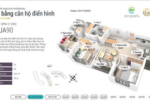 Ecopark - bán căn hộ cao cấp 90 m2 tòa Grand Park view vịnh Marina - ngang giá chủ đầu tư